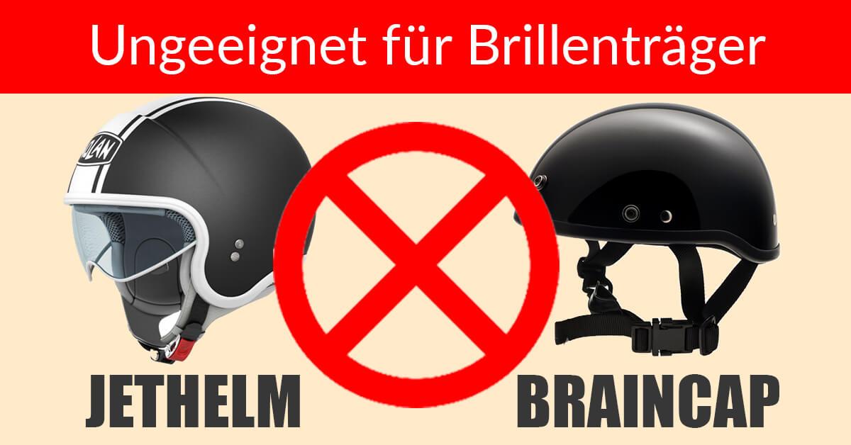 Welcher Helm für Brillenträger - Jethelm und Braincap sind ungeeignet